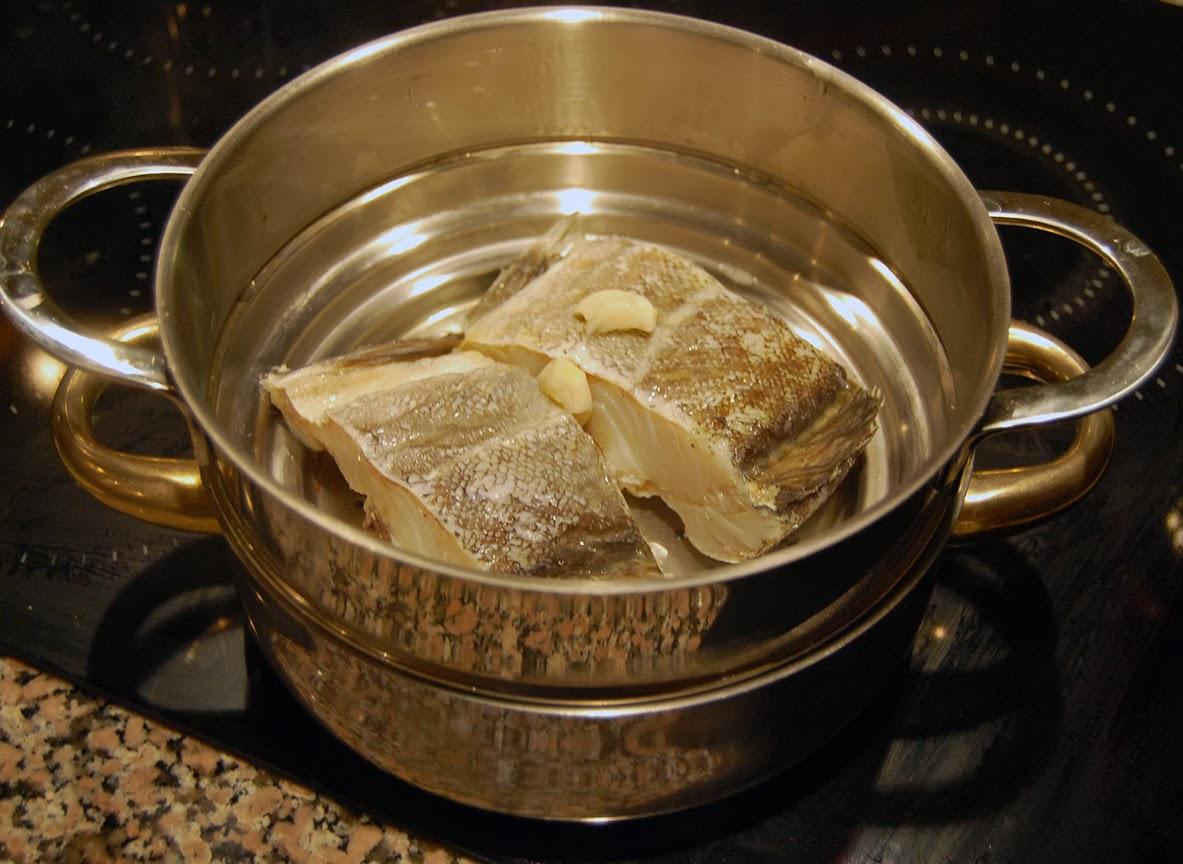 Bacalhau cozido ao vapor