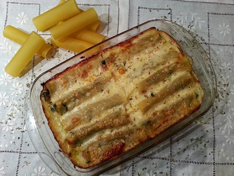 Cannellonis de atum e espinafres com queijo da ilha