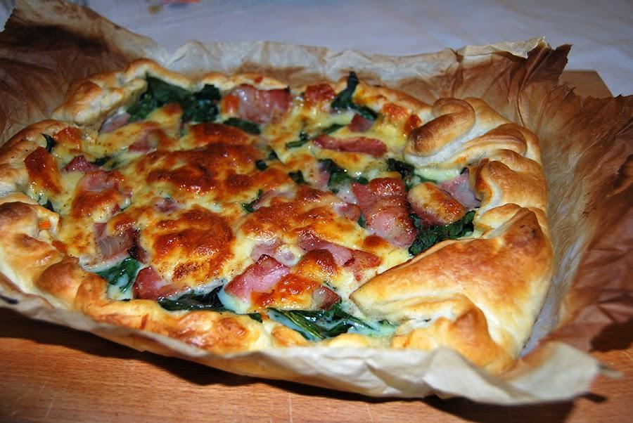 Quiche de espinafres, queijo, abóbora e bacon