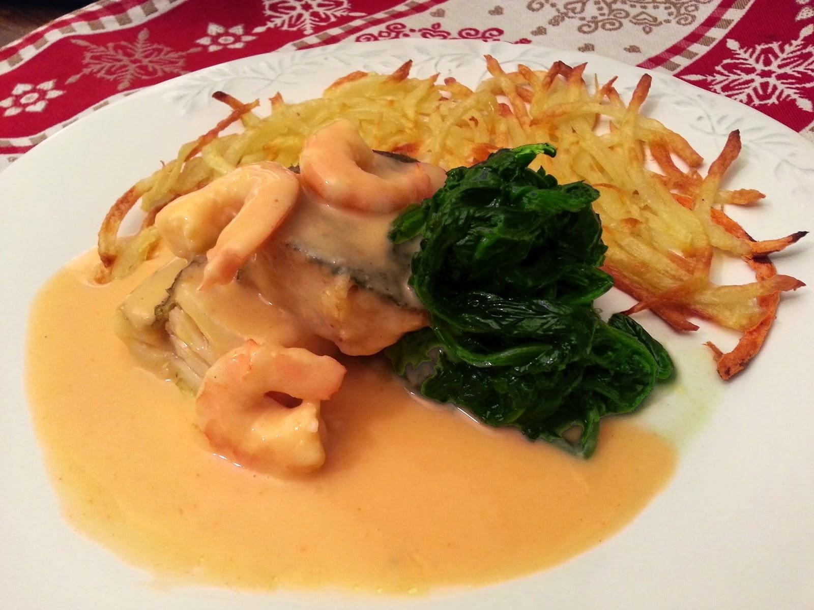 Bacalhau corado com molho cremoso de camarão