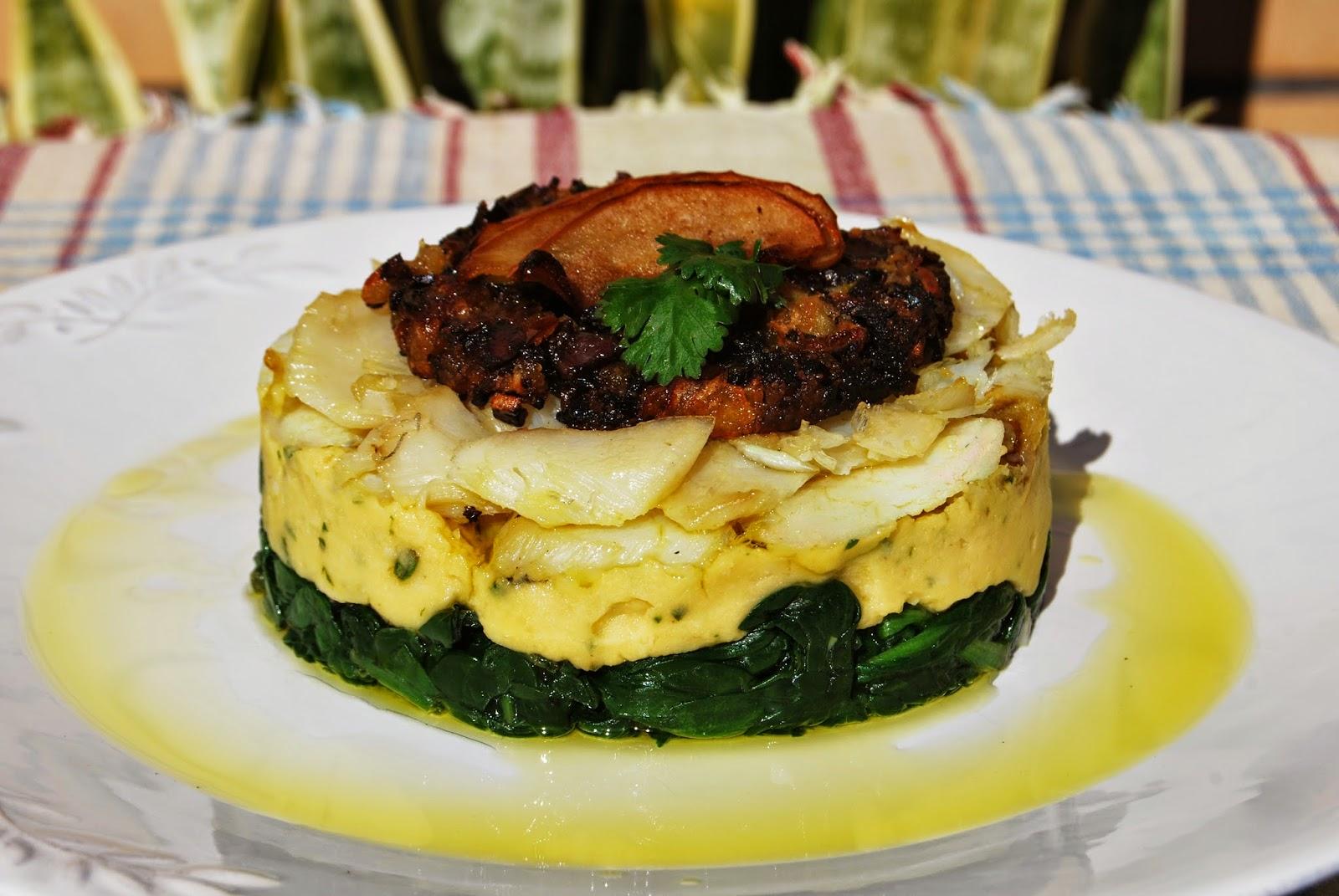 Bacalhau com puré de grão e crocante de chouriço mouro com maçã