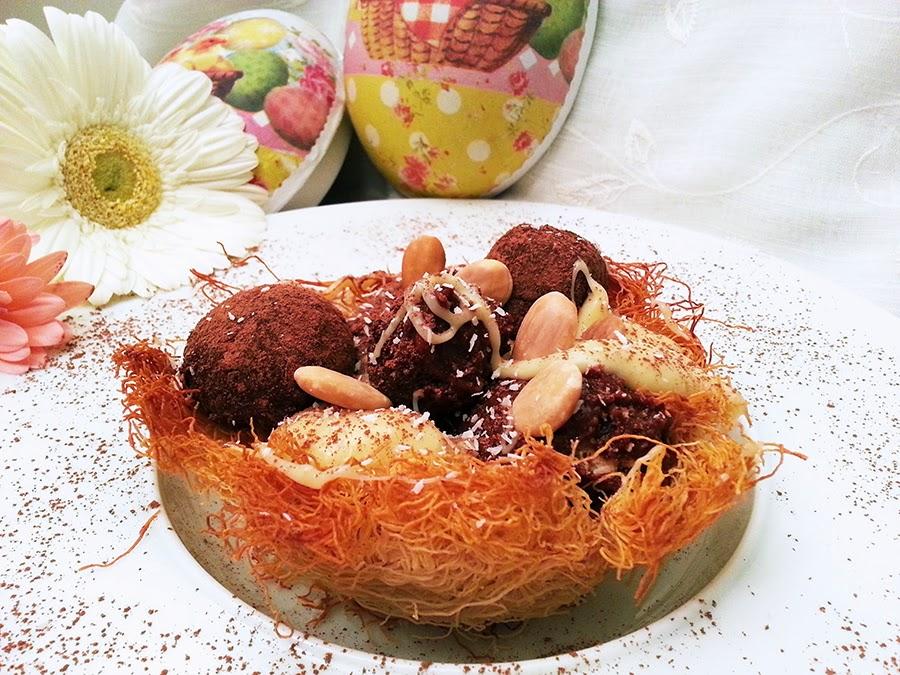 Ninhos de Páscoa com mousses de dois chocolates