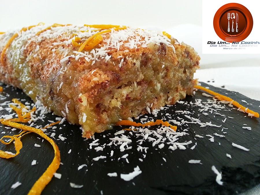 """Torta de amêndoa, coco e laranja – projeto """"Dia Um… Na Cozinha"""""""