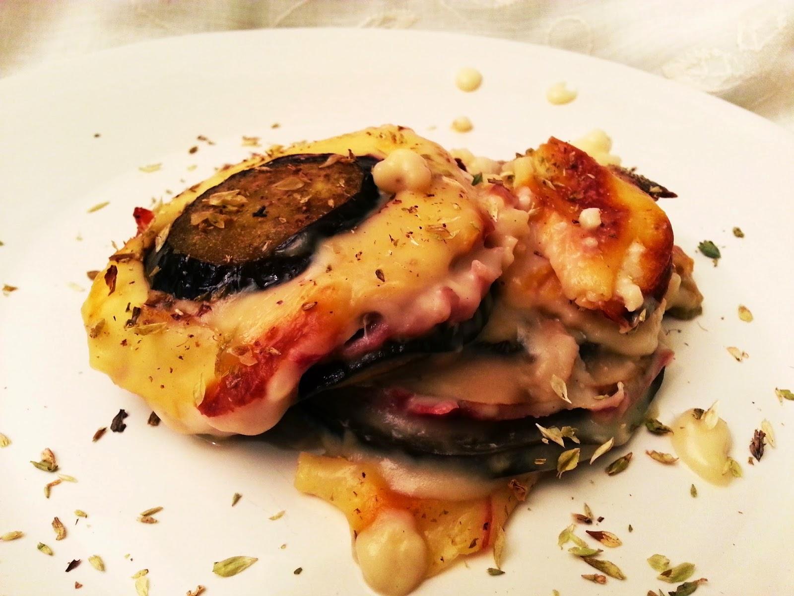 Lasanha de beringela e cogumelos