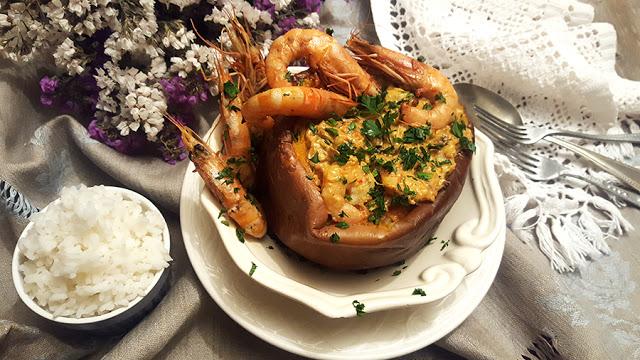 Caril de camarão e abóbora