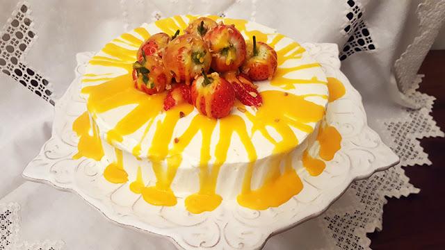 Bolo de laranja com creme de ovos