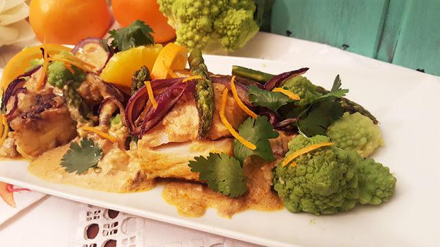 Bacalhau com caril de vegetais e laranja # Sugestões de Páscoa