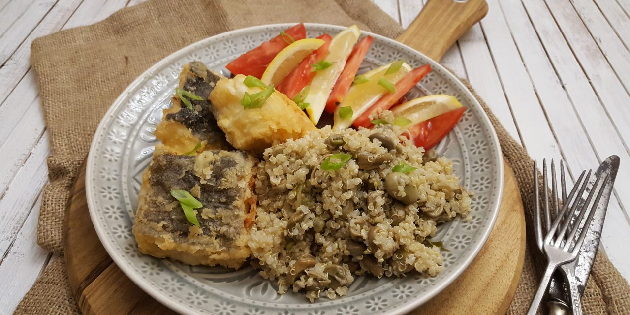 Salada de quinoa e favas com lombos de bacalhau