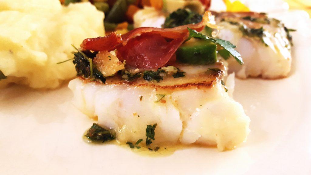 bacalhau fresco com molho de ervas