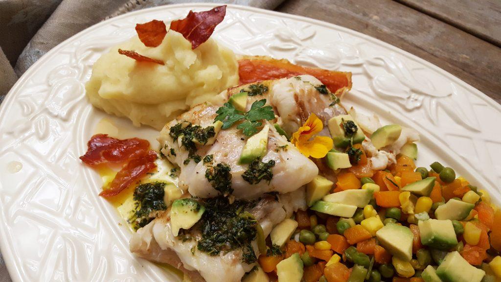 bacalhau fresco com puré