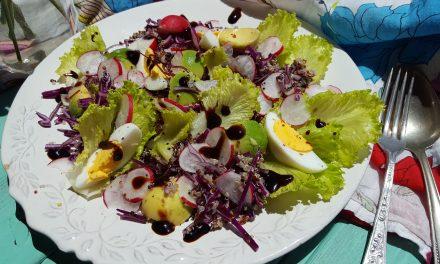 Salada de quinoa e couve roxa com ovos e abacate