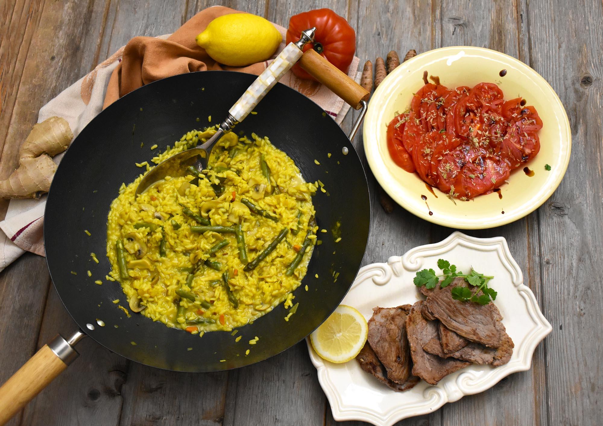 arroz de legumes com curcuma
