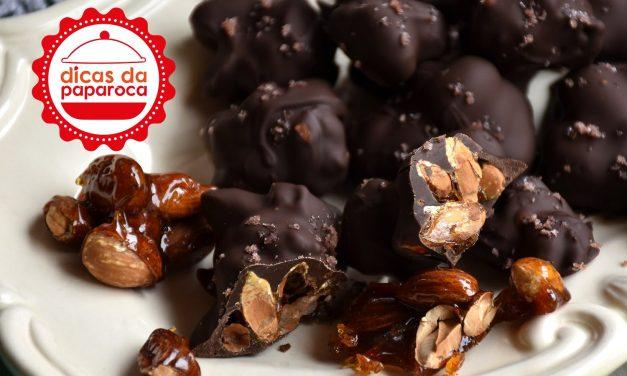 Amêndoas caramelizadas com chocolate # Sugestões de Páscoa