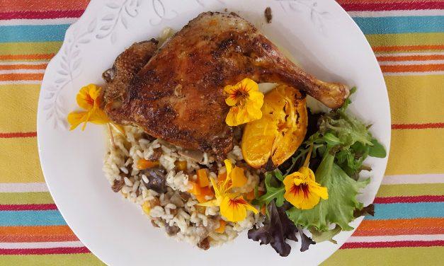 Pato assado com especiarias e arroz de miúdos