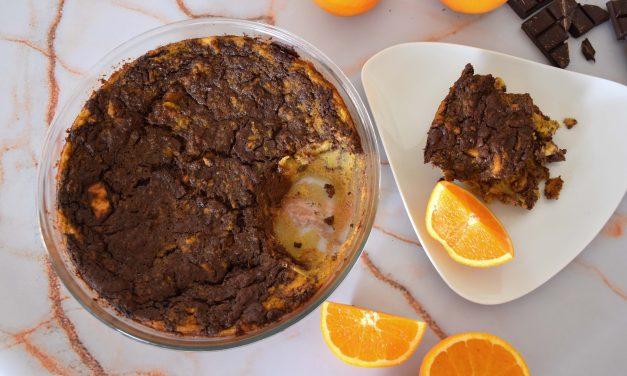 Pudim de pão com laranja e chocolate